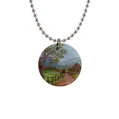 amish Buggy Going Home  By Ave Hurley Of Artrevu   1  Button Necklace