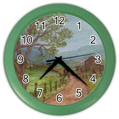 amish Buggy Going Home  By Ave Hurley Of Artrevu   Color Wall Clock