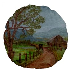amish Buggy Going Home  By Ave Hurley Of Artrevu   Large 18  Premium Round Cushion  by ArtRave2