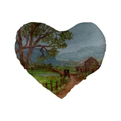 amish Buggy Going Home  By Ave Hurley Of Artrevu   Standard 16  Premium Heart Shape Cushion  by ArtRave2