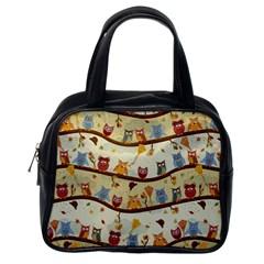 Autumn Owls Classic Handbag (one Side) by Ancello