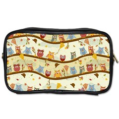 Autumn Owls Travel Toiletry Bag (two Sides) by Ancello