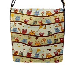 Autumn Owls Flap Closure Messenger Bag (large) by Ancello