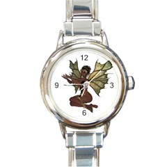 Faerie Nymph Fairy With Outreaching Hands Round Italian Charm Watch