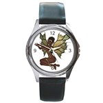 Faerie Nymph Fairy with outreaching hands Round Leather Watch (Silver Rim)