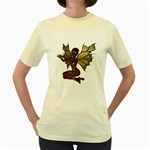 Faerie Nymph Fairy with outreaching hands  Womens  T-shirt (Yellow)