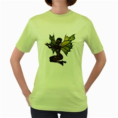 Faerie Nymph Fairy With Outreaching Hands Womens  T Shirt (green)