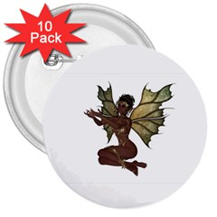 Faerie Nymph Fairy With Outreaching Hands 3  Button (10 Pack) by goldenjackal
