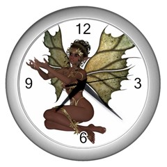 Faerie Nymph Fairy With Outreaching Hands Wall Clock (silver) by goldenjackal
