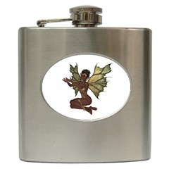 Faerie Nymph Fairy With Outreaching Hands Hip Flask by goldenjackal