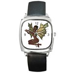 Faerie Nymph Fairy with outreaching hands Square Leather Watch