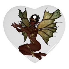 Faerie Nymph Fairy With Outreaching Hands Heart Ornament (two Sides) by goldenjackal