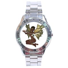 Faerie Nymph Fairy With Outreaching Hands Stainless Steel Watch by goldenjackal