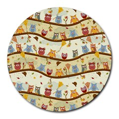 Autumn Owls 8  Mouse Pad (round) by Ancello
