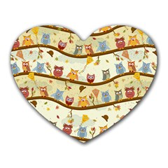 Autumn Owls Mouse Pad (heart) by Ancello