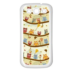 Autumn Owls Samsung Galaxy S3 Back Case (white) by Ancello