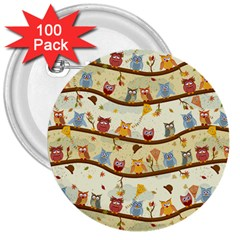 Autumn Owls 3  Button (100 Pack)