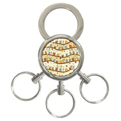 Autumn Owls 3 Ring Key Chain by Ancello