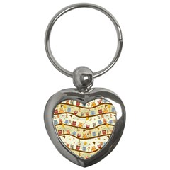 Autumn Owls Key Chain (heart) by Ancello