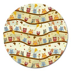 Autumn Owls Magnet 5  (round) by Ancello