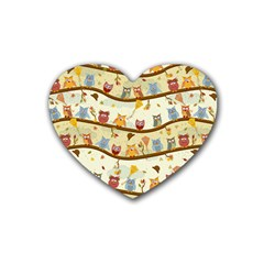 Autumn Owls Drink Coasters 4 Pack (heart)  by Ancello