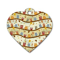 Autumn Owls Dog Tag Heart (one Sided)  by Ancello