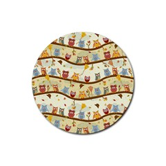 Autumn Owls Drink Coasters 4 Pack (round) by Ancello
