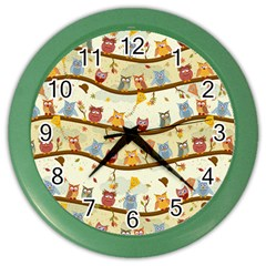 Autumn Owls Wall Clock (color) by Ancello