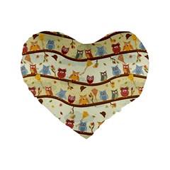 Autumn Owls 16  Premium Heart Shape Cushion  by Ancello
