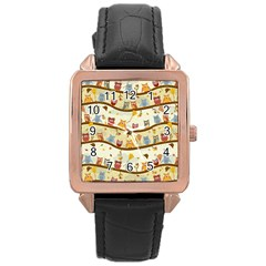 Autumn Owls Rose Gold Leather Watch  by Ancello