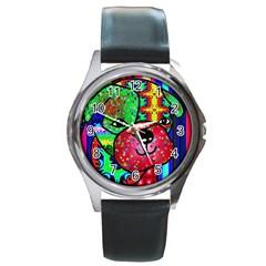 Pug Round Leather Watch (silver Rim) by Siebenhuehner
