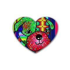 Pug Drink Coasters 4 Pack (heart)