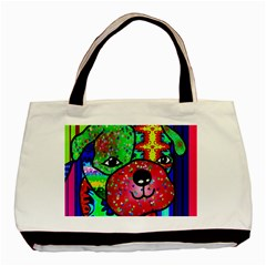 Pug Twin Sided Black Tote Bag by Siebenhuehner