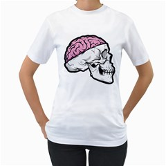 Skull & Brain Womens  T Shirt (white) by Contest1741741