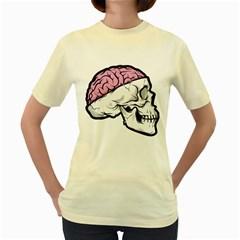 Skull & Brain  Womens  T Shirt (yellow) by Contest1741741