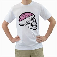 Skull & Brain Mens  T Shirt (white) by Contest1741741