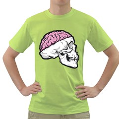 Skull & Brain Mens  T-shirt (Green) by Contest1741741