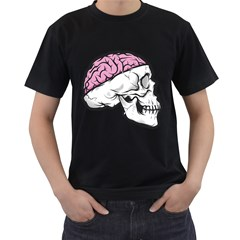 Skull & Brain Mens' Two Sided T-shirt (Black) by Contest1741741