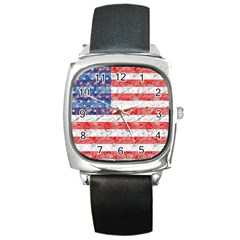 Flag Square Leather Watch