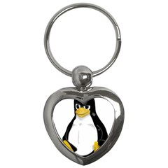 Angry Linux Tux Penguin Key Chain (heart) by youshidesign