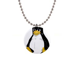 Angry Linux Tux Penguin Button Necklace by youshidesign