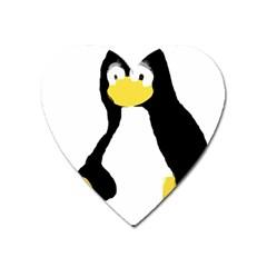 Primitive Linux Tux Penguin Magnet (heart) by youshidesign