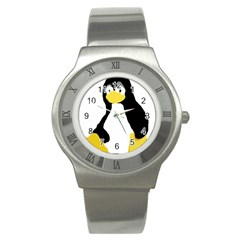 Primitive Linux Tux Penguin Stainless Steel Watch (slim) by youshidesign