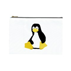 Primitive Linux Tux Penguin Cosmetic Bag (large) by youshidesign