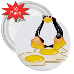 Linux Tux Penguin Birth 3  Button (10 Pack) by youshidesign