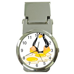 Linux Tux Penguin Birth Money Clip With Watch
