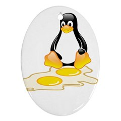 Linux Tux Penguin Birth Oval Ornament (two Sides) by youshidesign