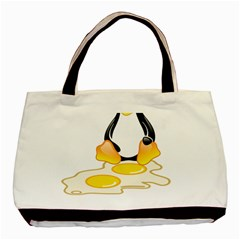 Linux Tux Penguin Birth Twin Sided Black Tote Bag by youshidesign