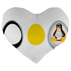 Linux Tux Penguin In The Egg 19  Premium Heart Shape Cushion by youshidesign