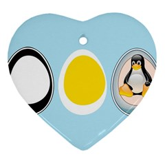 Linux Tux Penguin In The Egg Heart Ornament by youshidesign